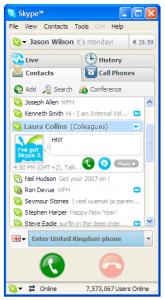 Главное окно программы Skype